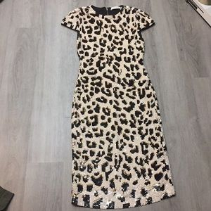 Alice + Olivia nat sequin leopard midi dress